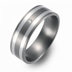Hochzeitsring Ehering Titan mit Silber und Brillant FT-12-08