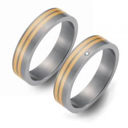 Partnerringe Titan mit Gelbgold 4401-4402