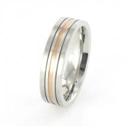 Edelstahl Ring mit Rotgold R178