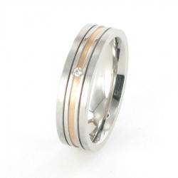 Edelstahl Ring mit Rotgold und Brillant  R179