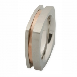 Edelstahlring mit Rotgold R174