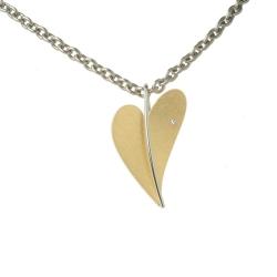Ernstes Design Herz Anhänger mit Brillant Gelbgold vergoldet klein AN227