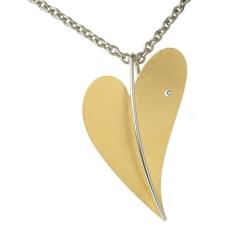 Ernstes Design Herz Anhänger Gelbgold vergoldet Groß AN230