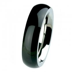 EDvita Edelstahlring mit Keramik schwarz R274