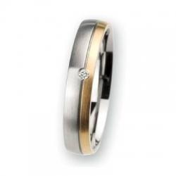 Trauring / Partnerring Edelstahl mit Gold und Brillant R110