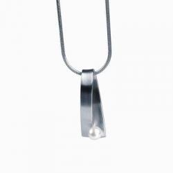 Edelstahlanhänger mit Süßwasserperle AN108