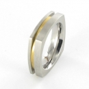 Trauring / Partnerring Edelstahl mit Gold 18 ct  R98