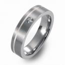 Titanring mit Silber und Brillant FT 04-04