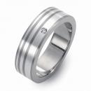 Titanring mit Silber und Brillant FT 05-08
