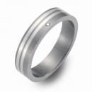 Trauringe Hochzeitsringe Titan mit Silber und Brillant FT-05-06