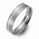 Trauringe Hochzeitsringe Titan mit Silber und Brillant FT-07-08