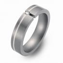 Trauringe Hochzeitsringe Titan mit Silber und Brillant FT-03-08