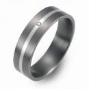 Trauring Hochzeitsring Titan mit Silber und Brillant FT-06-08