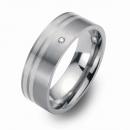 Hochzeitsringe Eheringe Titan mit Silber und Brillant FT-10-06
