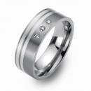 Hochzeitsringe Eheringe Titan mit Silber und Brillanten FT-10-07