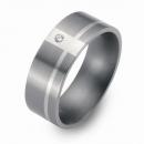 Hochzeitsring Ehering Titan mit Silber und Brillant FT-17-08