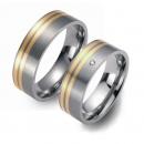 Partner Ringe Titan mit Gelbgold und Brillant 3601-3602