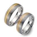 Partner Ringe Titan gewölbt mit Gelbgold 7001-7002