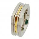 Ring Edelstahl mit Gelbgold und Brillant  R181