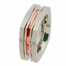 Edelstahlring mit Rotgold R182
