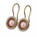 Edelstahl Ohrhänger teilvergoldet mit Süsswasserperlen  E220