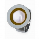 Edelstahlring teilvergoldet mit Süsswasserperle R162