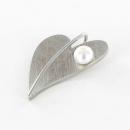 Herz Edelstahl Anhänger mit Perle klein  AN208
