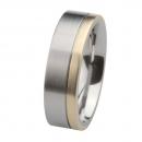 Ernstes Design Edelstahl Ring mit Gelbgold  R217.7