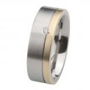Ernstes Design Ring mit Gelbgold und Brillant R218.7