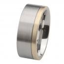 Ernstes Design Edelstahl Ring mit Gelbgold  R217.9