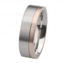 Ernstes Design Edelstahl Ring mit Rotgold  R219.7