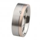 Ernstes Design Ring mit Rotgold und Brillant R220.7