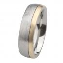Ernstes Design Edelstahl Ring mit Gelbgold R235.7