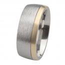 Ernstes Design Edelstahl Ring mit Gelbgold R235.9