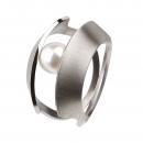 Edelstahlring mit Süsswasserperle R104 Ringgröße 57
