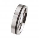 Edelstahl Ringe mit Kautschukring R105 Ringgröße 57