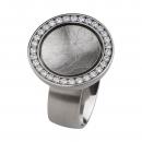 Edelstahlring mit Zirkonia Weiß R213WH Ringgröße 56