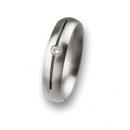 Edelstahl Ring Ernstes Design mit Brillant R50,5 Ringgröße 50