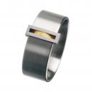 Edelstahlring mit Gold 750 R80 Ringgröße 57
