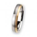 Trauring / Partnerring Edelstahl mit 18 ct Gold R109