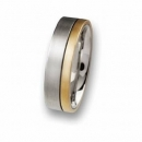 Trauring / Partnerring Edelstahl mit 18 ct Gold  R51