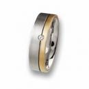 Trauring / Partnerring Edelstahl mit Gold und Brillant R52