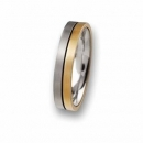 Trauring / Partnerring Edelstahl mit 18 ct Gold R57