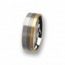 Trauring / Partnerring Edelstahl mit 18 ct Gold R76