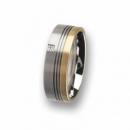 Trauring / Partnerring Edelstahl mit Gold und Diamantcarre R77