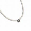Perlkette mit Edelstahlmittelteil mit Brillant K74